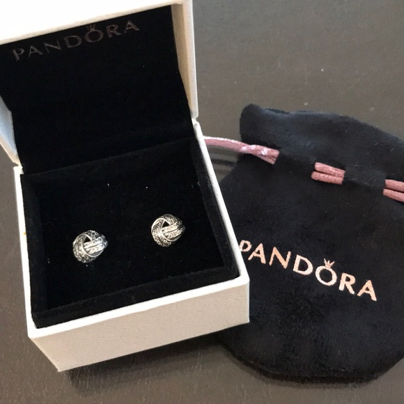 0bca5a3f9 Pandora Jewelry | Sparkling Love Knot Silver Stud Earrings | Poshmark